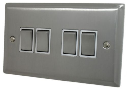 G&H DSN204 Deco Plate Satin Nickel 4 Gang 1 or 2 Way Rocker Light Switch